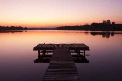 """""""Lake Pier At Sunset"""" by Toa55"""
