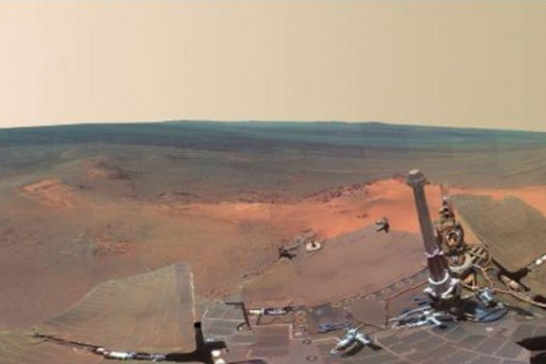 1st panoramic view of Mars taken by NASA's Opportunity explorer
