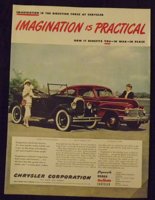 1945 '24 Chrysler and '42 Plymouth Vintage Print Ad