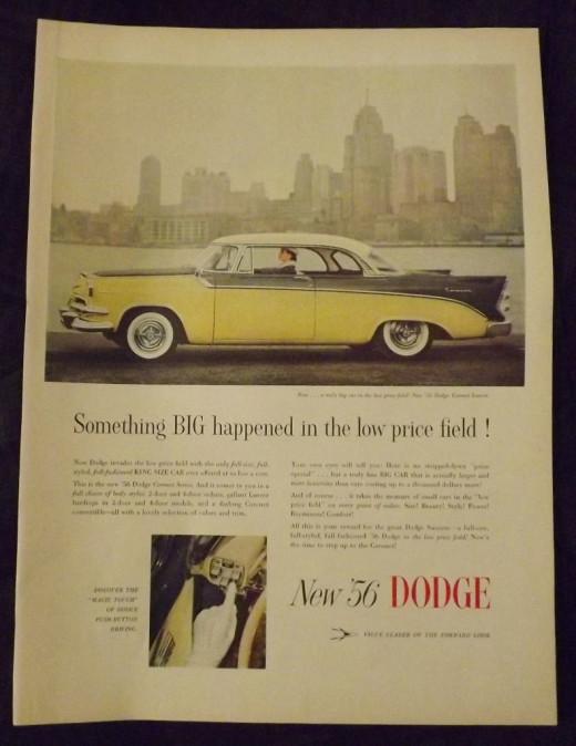 1956 Dodge Coronet Lancer Vintage Print Ad