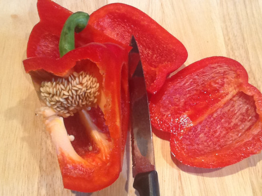 Chop peppers into long slices