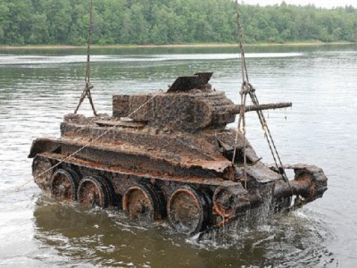 A Russian BT-7 light tank recovered from the depths