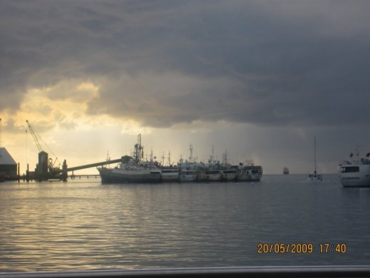 Sunset at main port , Port Louis, Mauritius