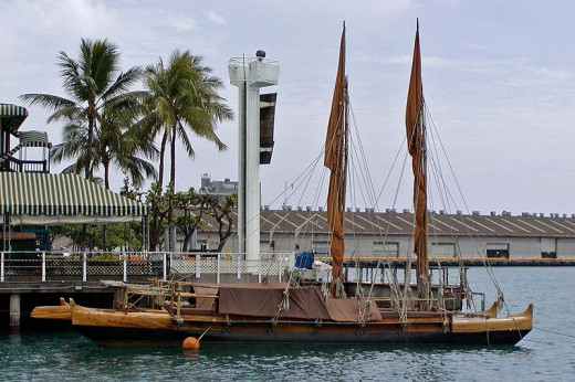 This is a modern replica of a traditional Polynesian canoe called the Hawai'iloa.