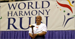 Sri Chinmoy with Peace Torch