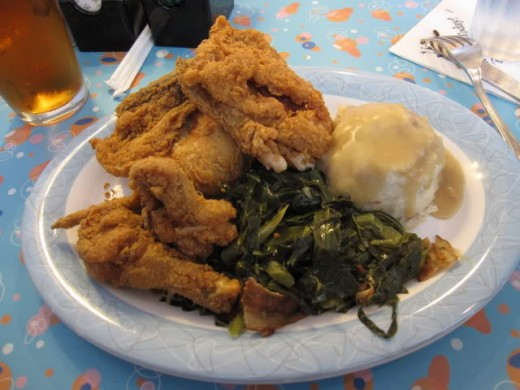 Fried Chicken Entree with Mashed Potatoes and Southern Greens
