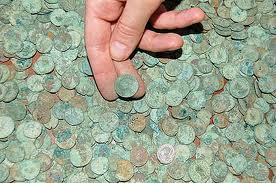 Coins 'en masse' from the Silverdale hoard pot