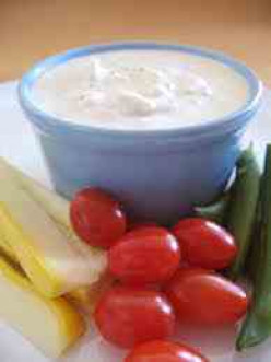 Creamy Blue Cheese Vegetable Dip with toasted Walnuts