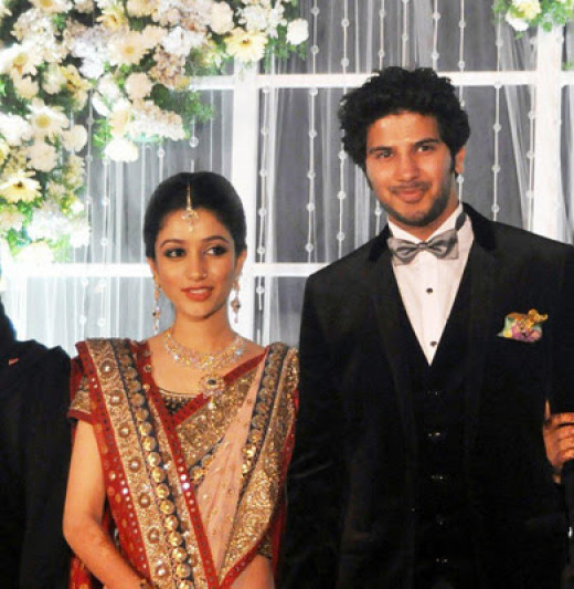 Dulquer Salmaan with wife Amal Sufi
