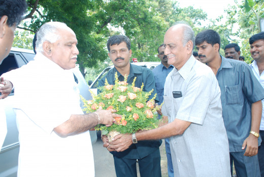 The then chief minister of Karnataka,Mr. B.S. Yediyurappa(left), being welcomed by Founder Mr. H. Khandoba Rao(right),during his visit to the museum.