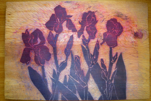 Woodblock Carving of Bearded Iris's