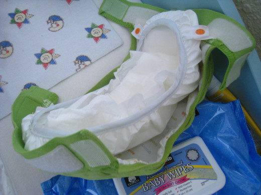 """Inside of Hybrid diaper - this is a G-Diaper inside. You can see where the disposable insert """"lays"""" into the waterproof layer. All hybrids, have some system for tucking in the inserts."""