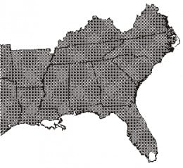 This image shows a large portion of the eastern hornose snake's distribution in the United States. It doesn't show the entire area it covers, but shows enough that you can get the idea of how much area they cover.