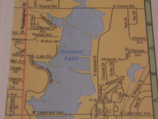 Map of Boomer Lake in Stillwater, OK