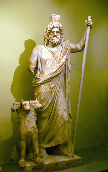 Hades with the Cerberus (three headed dog)