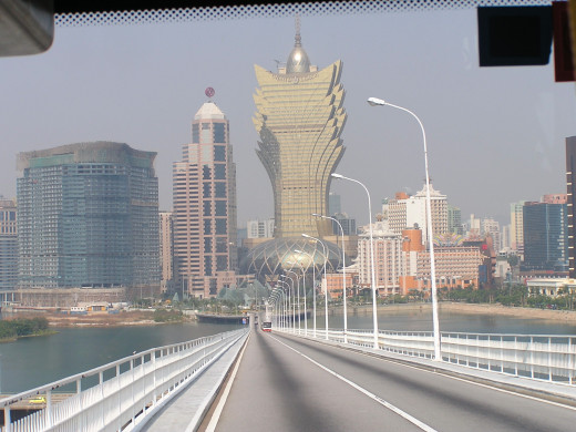 View of the Grand Lisboa while driving towards it