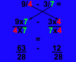 Example of how to subtract fractions