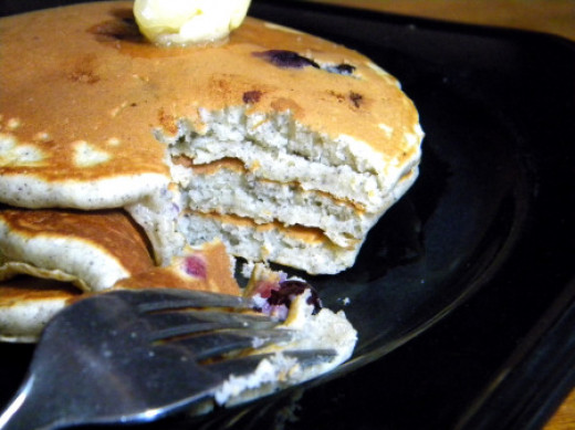 Blueberry blue cornmeal pancakes are a country style breakfast treat.