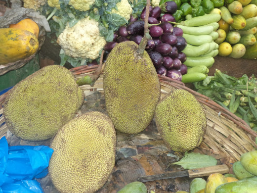 Jack fruit along with other vegetables in a shop in India