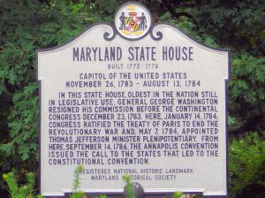 Maryland State House historic marker.