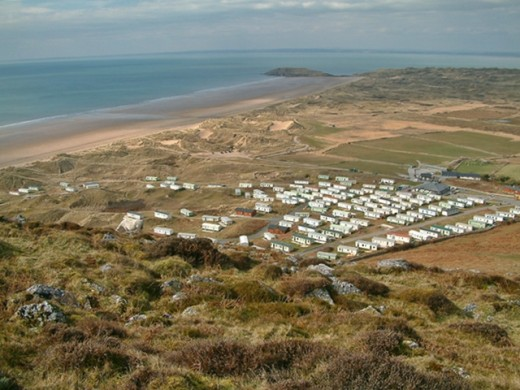View of Hillend caravan and campsite from the hill