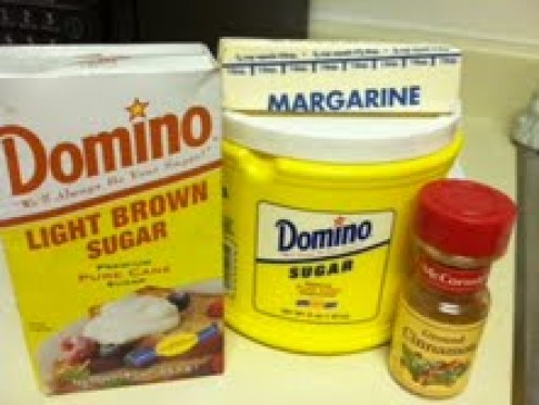 Some of the ingredients include brown sugar, white sugar, and cinnamon.