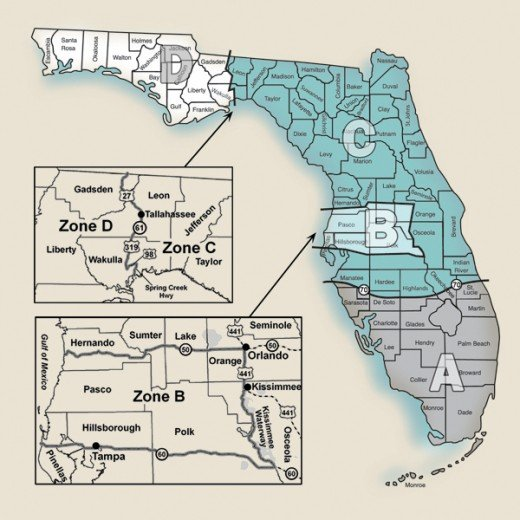 The Hunting Zones Of Florida Are Shown In This Map.