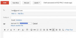 A progress bar appears in the top part of the email displaying the progress of attaching the file.
