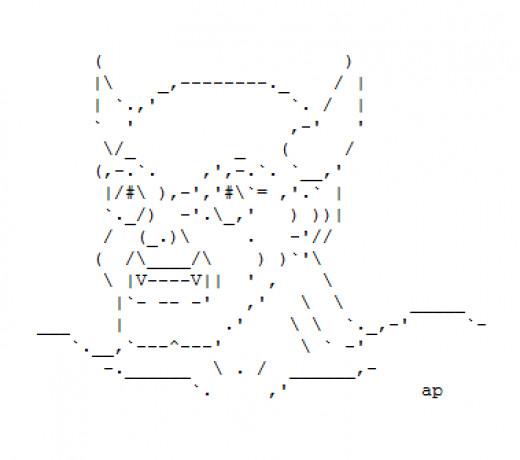 One Line Ascii Art Devil : Little devils in ascii text art