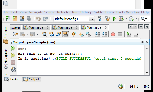 """Java Source Code """"Example1"""" Output"""