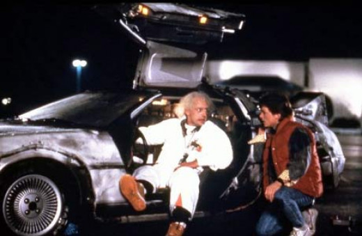 Doc Brown talking to Marty McFly in his futuristic car