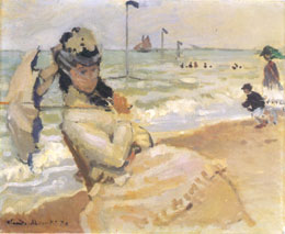 Monet's Painting of Camille on a beach at Trouville