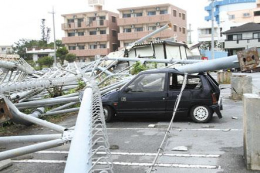 Damage to car after Typhoon