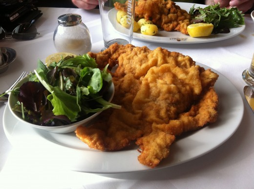 Famous Pork Vienna Schnitzel at the famous Mozart Cafe
