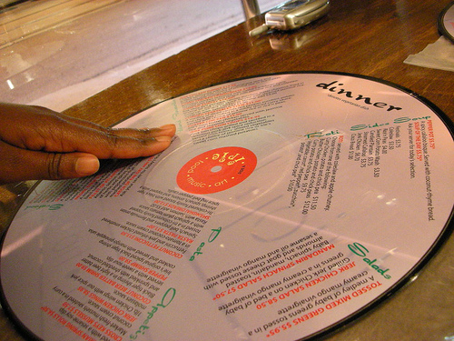 Menu made out of a record.