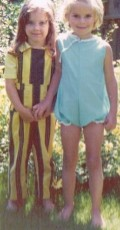 This is a photo of my friend Margaret (stripes) and me (blue) probably about 1973.