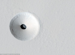Holes in Mars emitting light