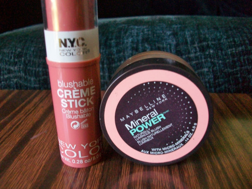 (Left) The NYC Blushable Creme Stick. (Right) The Maybelline Mineral Power Blush.