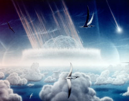 This painting by Donald E. Davis depicts an asteroid slamming into tropical, shallow seas of the sulfur-rich Yucatan Peninsula in what is today southeast Mexico. The aftermath of this immense asteroid collision, which occurred approximately 65 millio