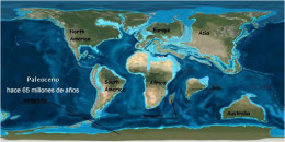 Planet Earth in the Palaeocene in the early Cenozoic Era.