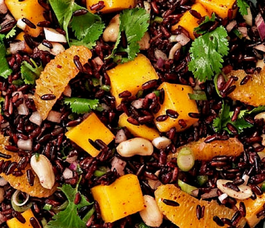 Black Rice Salad with Peanuts and Mango Slices - illustrating the variety of uses for cooking with black rice