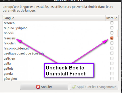 "Find ""francais"" and uncheck its box."