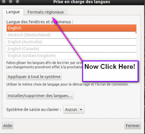 "Now click on ""Formats regionaux""."