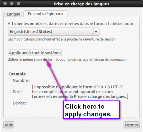 "Click ""appliquer a tout le systeme"" to apply changes to the system."