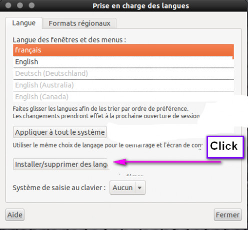 "Click ""Installer/supprimer des langues"" to enter the install/uninstall menu for languages."