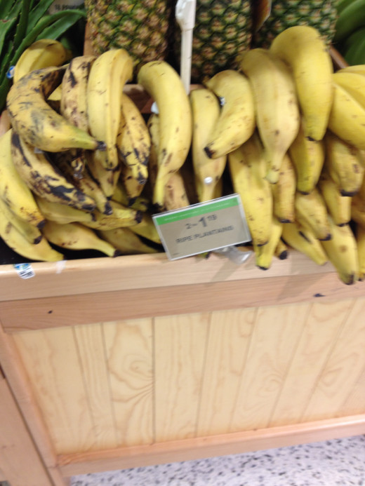 Plantains may increase in price as they ripen:  2 for $1.19 is standard in our local grocery stores.