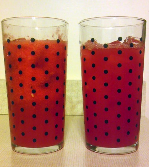 Frothy watermelon juice on the left and strained watermelon juice on the right. The polka dots are on the glass, not seeds!