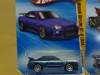 Brian's blue R34 Skyline GTR diecast replica on the fourth installment of The Fast and The Furious franchise - also known as Fast and Furious