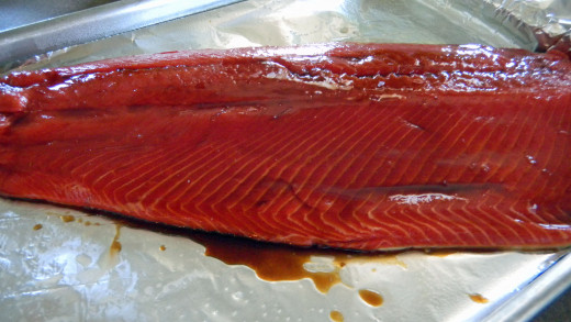 Salmon fillet when ready for oven