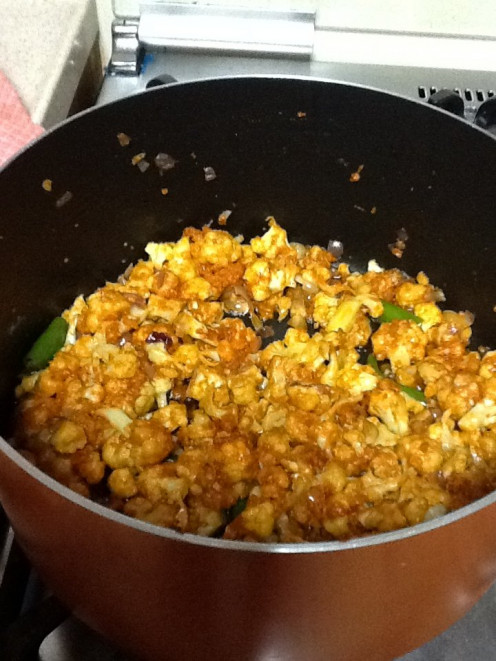 Cauliflower cooked in microwave and mixed with the other ingredients